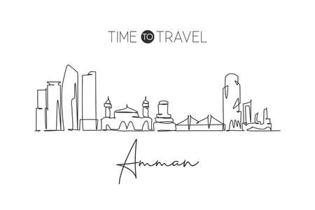 Single continuous line drawing of Amman city skyline, Jordan. Famous city scraper and landscape home decor wall art poster print. World travel concept. Modern one line draw design vector illustration