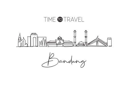 One single line drawing of Bandung city skyline, India. Historical town landscape home decor wall art poster print. Best holiday destination. Continuous line draw design vector graphic illustration