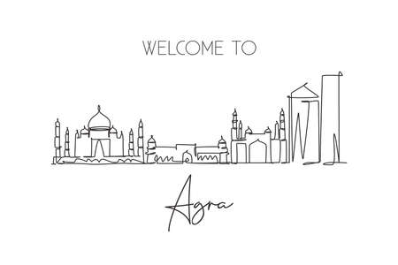 Single continuous line drawing of Agra city skyline, India. Famous city scraper and landscape home wall decor poster print art. World travel concept. Modern one line draw design vector illustration