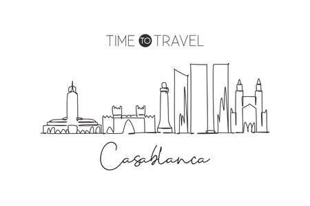 Single continuous line drawing of Casablanca city skyline Morocco. Famous city scraper and landscape in the world. World travel concept. Editable stroke modern one line draw design vector illustration