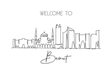 Single continuous line drawing of Beirut city skyline, Lebanon. Famous city scraper and landscape home wall decor poster print. World travel concept. Modern one line draw design vector illustration