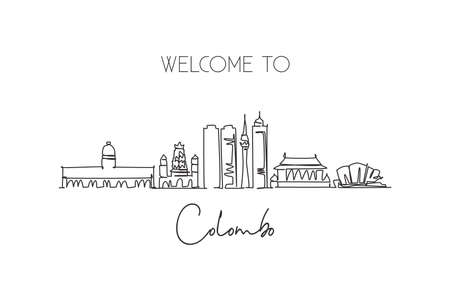One continuous line drawing Colombo city skyline, Sri Lanka. Beautiful landmark postcard. World landscape tourism travel vacation. Editable stylish stroke single line draw design vector illustration