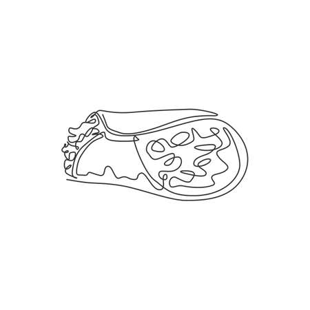 One single line drawing of fresh hot spicy Mexican burritos logo vector illustration. Traditional food cafe menu and restaurant badge concept. Modern continuous line draw design street food logotype Logo