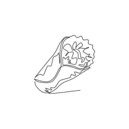 Single continuous line drawing stylized Mexican burritos shop logo label. Emblem fast food restaurant concept. Modern one line draw design vector graphic illustration for cafe or food delivery service Logo