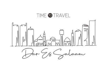 One single line drawing of Dar Es Salaam city skyline, Tanzania. Historical place landscape postcard print. Best holiday destination. Editable stroke Continuous line draw design vector illustration