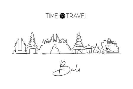Single continuous line drawing of Bali city skyline, Indonesia. Famous city scraper landscape wall decor home art poster print. World travel concept. Modern one line draw design vector illustration