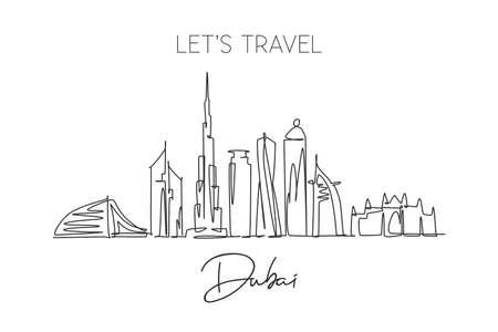 One single line drawing of Dubai city skyline, United Arab Emirates. Historical landscape postcard art. Best holiday destination. Editable stroke trendy continuous line draw design vector illustration
