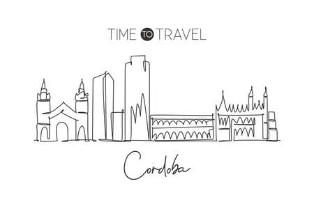 Single continuous line drawing of Cordoba city skyline, Argentina. Famous city scraper landscape postcard print art. World travel destination concept. Modern one line draw design vector illustration