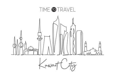 One continuous line drawing of Kuwait City skyline, Kuwait. Beautiful city landmark. World landscape tourism and travel vacation. Editable stylish stroke single line draw design vector illustration Vecteurs