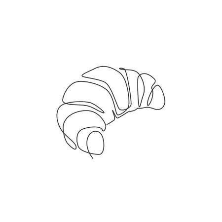 One continuous line drawing of fresh delicious online French croissant shop restaurant logo emblem. Pastry store cafe logotype template concept. Modern single line draw design vector illustration Logos