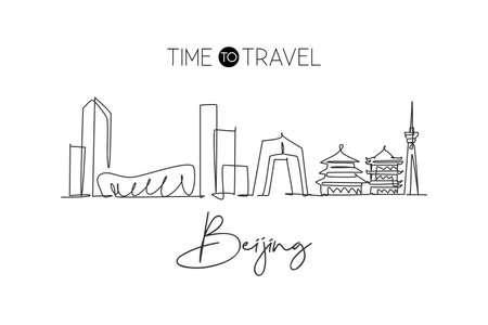 Single continuous line drawing of Beijing city skyline, China. Famous city scraper and landscape. World travel concept home decor wall art poster print. Modern one line draw design vector illustration
