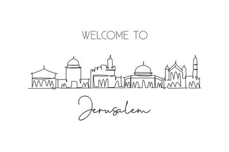 One continuous line drawing Jerusalem holy city skyline, Palestine. Beautiful landmark. World landscape tourism travel vacation. Editable stylish stroke single line draw design vector art illustration