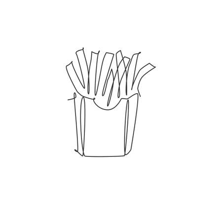Single continuous line drawing of stylized french fries store logo label. Emblem fast food restaurant concept. Modern one line draw design vector illustration for cafe, shop or food delivery service