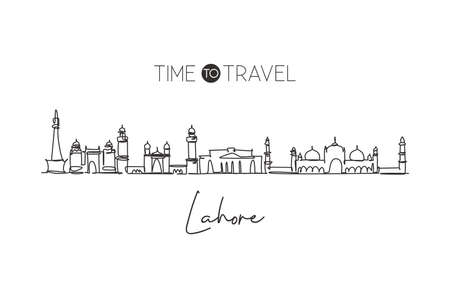 One continuous line drawing of Lahore city skyline, Pakistan. Beautiful city landmark. World landscape tourism and travel vacation. Editable stylish stroke single line draw design vector illustration