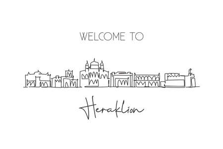 One continuous line drawing of Heraklion city skyline, Greece. Beautiful landmark postcard. World landscape tourism travel vacation. Editable stylish stroke single line draw design vector illustration
