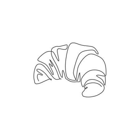 One single line drawing of fresh online sweet croissant shop logo vector illustration. Breakfast food cafe menu and restaurant badge concept. Modern continuous line draw design street food logotype