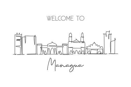 Single continuous line drawing of Managua skyline, Nicaragua. Famous city scraper landscape. World travel destination postcard concept. Editable stroke modern one line draw design vector illustration