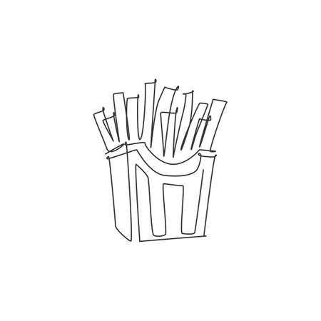 One continuous line drawing of fresh delicious American french fries restaurant logo emblem. Boxed fast food cafe shop logotype template concept. Modern single line draw design vector illustration