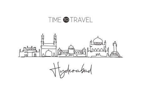 One single line drawingHyderabad city skyline, India. Historical town landscape in the world. Best holiday destination. Editable stroke trendy continuous line draw design graphic vector illustration Vetores