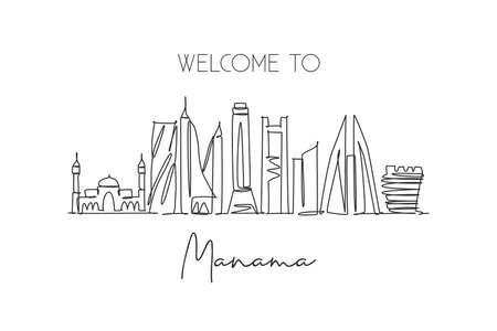 One continuous line drawing Manama city skyline Bahrain. Beautiful landmark postcard print. World landscape tourism travel vacation. Editable stylish stroke single line draw design vector illustration Vecteurs