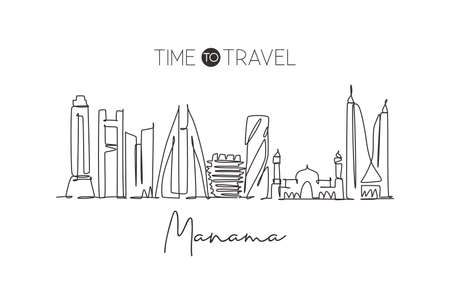Single continuous line drawing Manama city skyline, Bahrain. Famous city scraper and landscape home wall decor poster print art. World travel concept. Modern one line draw design vector illustration