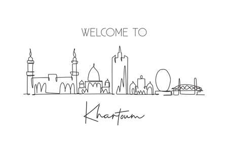 One continuous line drawing of Khartoum city skyline, Sudan. Beautiful landmark wall decor poster print art. World landscape tourism and travel. Stylish single line draw design vector illustration