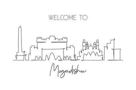 One single line drawing city Mogadishu skyline, Somalia. Historical place landscape in world. Best holiday destination postcard. Editable stroke trendy continuous line draw design vector illustration