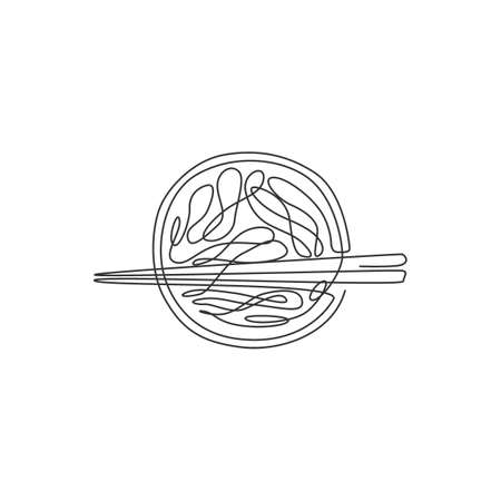 Single continuous line drawing of stylized hot spicy noodles logo label. Emblem fast food restaurant concept. Modern one line draw design vector illustration for bar, shop or food delivery service