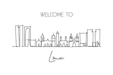 Single continuous line drawing of Lima city skyline, Peru. Famous city scraper landscape. World travel destination concept wall poster. Editable stroke modern one line draw design vector illustration