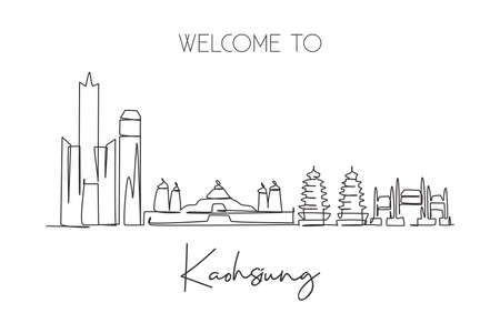 One continuous line drawing of Kaohsiung city skyline, Taiwan. Beautiful landmark. World landscape tourism and travel vacation. Editable stylish stroke art single line draw design vector illustration