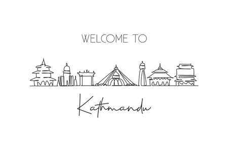 One continuous line drawing of Kathmandu city skyline, Nepal. Beautiful landmark postcard. World landscape tourism travel vacation. Editable stylish stroke single line draw design vector illustration Иллюстрация