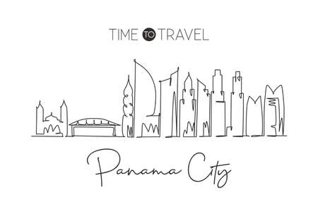 Single continuous line drawing Panama city skyline, Panama. Famous city scraper landscape. World travel destination concept wall decor poster print art. Modern one line draw design vector illustration