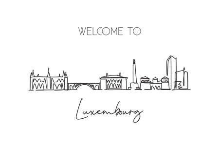 One continuous line drawing of Luxembourg city skyline. Beautiful landmark. World landscape tourism and travel vacation postcard. Editable stylish stroke single line draw design vector illustration