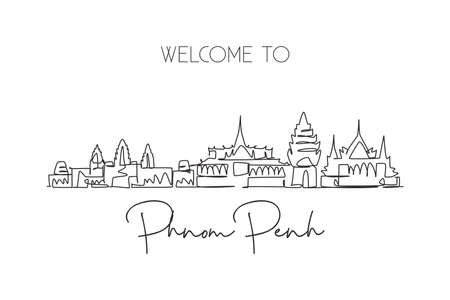 Single continuous line drawing of Phnom Penh city skyline, Cambodia. Famous city landscape. World travel concept home art wall decor poster print. Modern one line draw design vector illustration