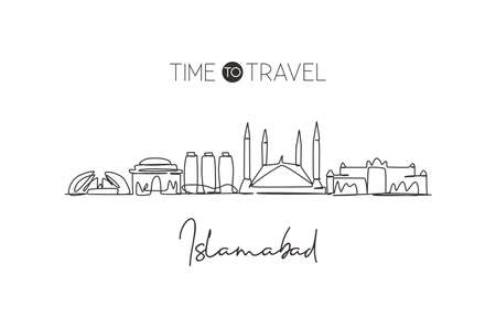 One single line drawing of Islamabad city skyline, Pakistan. Historical town landscape home wall decor poster print. Best holiday destination. Trendy continuous line draw design vector illustration