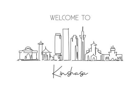 Single continuous line drawing Kinshasa city skyline, Congo. Famous city scraper and landscape home wall decor poster print art. World travel concept. Modern one line draw design vector illustration