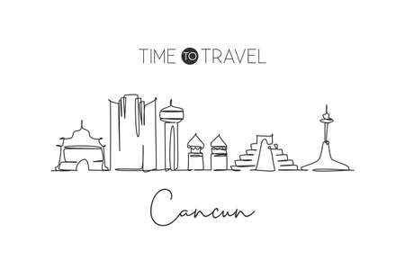 Single continuous line drawing of Cancun skyline, Mexico. Famous city scraper landscape. World travel destination home wall decor poster print concept. Modern one line draw design vector illustration  イラスト・ベクター素材