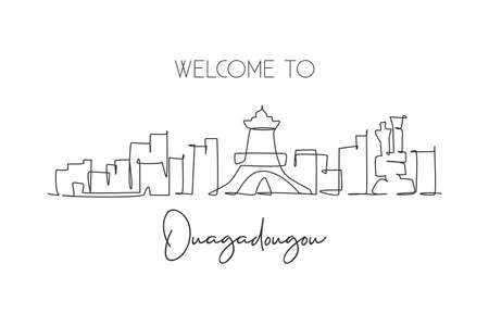 Single continuous line drawing of Ouagadougou city skyline, Burkina Faso. Famous city scraper and landscape wall decor poster print art. World travel concept. One line draw design vector illustration Vetores