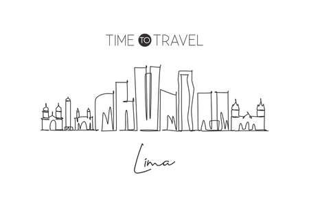 One continuous line drawing of Lima city skyline, Peru. Beautiful landmark postcard. World landscape tourism and travel vacation. Editable stylish stroke single line draw design vector illustration