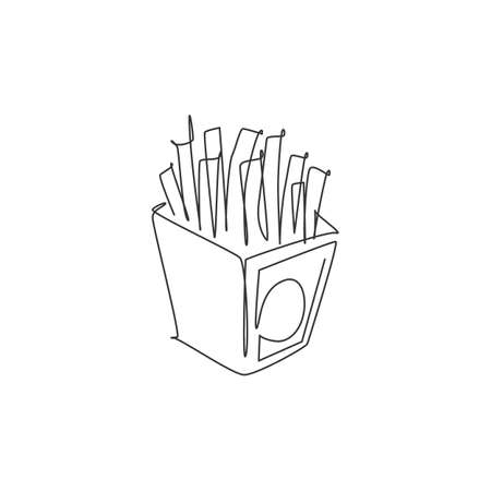 One single line drawing of fresh french fries logo vector illustration. Potato long stick fast food cafe menu and restaurant badge concept. Modern continuous line draw design street food logotype