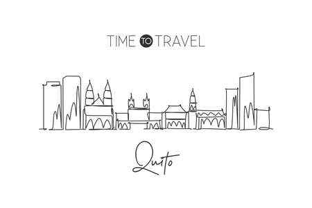 Single continuous line drawing of Quito city skyline, Ecuador. Famous city scraper and landscape. World travel destination concept. Editable stroke modern one line draw art design vector illustration