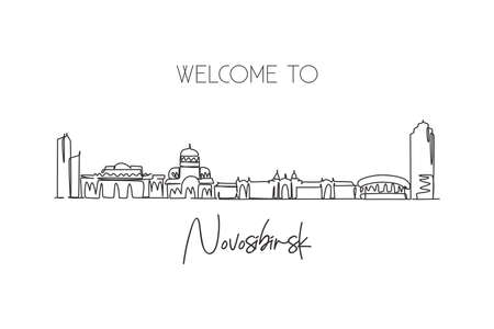 One single line drawing Novosibirsk city skyline, Russia. World historical town landscape. Best place holiday destination postcard art. Editable trendy continuous line draw design vector illustration