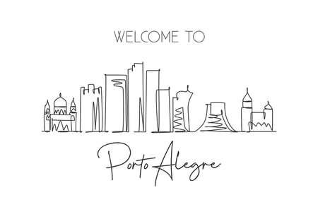 Single continuous line drawing of Porto Alegre city skyline, Brazil. Famous city scraper landscape. World travel destination concept. Editable stroke modern one line draw design vector illustration