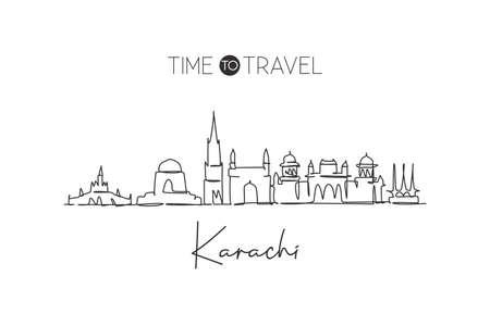 Single continuous line drawing Karachi city skyline, Pakistan. Famous city scraper and landscape home wall decor poster print art. World travel concept. Modern one line draw design vector illustration