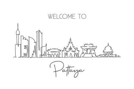 Single continuous line drawing of Pattaya skyline, Thailand. Famous city scraper landscape postcard. World travel destination concept. Editable stroke modern one line draw design vector illustration