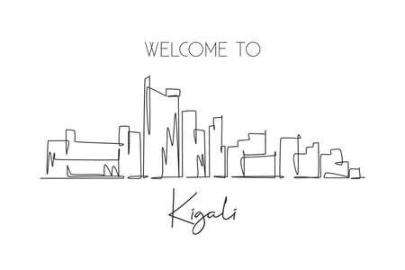 One single line drawing Kigali city skyline, Rwanda. Historical place landscape in world postcard art. Best holiday destination. Editable stroke trendy continuous line draw design vector illustration Illusztráció