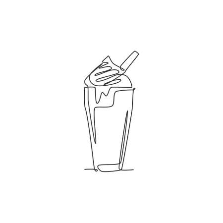 One single line drawing of fresh milkshake with whipped cream and wafer stick logo vector illustration. Cafe drink menu restaurant badge concept. Modern continuous line draw design drinking logotype