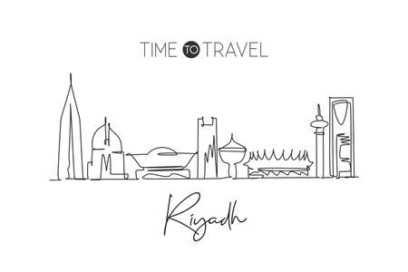 Single continuous line drawing of Riyadh skyline, Saudi Arabia. Famous city scraper landscape. World travel concept wall decor home art poster print. Modern one line draw design vector illustration