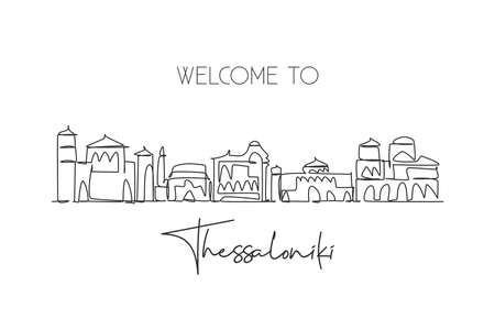 Single continuous line drawing Thessaloniki skyline, Greece. Famous city scraper landscape. World travel destination postcard concept. Editable stroke modern one line draw design vector illustration