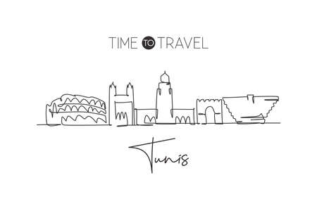 One single line drawing Tunis city skyline, Tunisia. Historical town landscape in world postcard. Best holiday destination. Editable stroke trendy continuous line draw design vector art illustration 일러스트